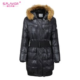 76263086c Long Down Fur Hooded Jackets Belt Online Shopping