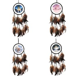 China Curtains Wholesalers UK - Indian Style Wall Hanging Dream Catcher Oil Painting Wolf Totem Fit Home Furnishing Garden Pendant Arts Gifts 8ms ff