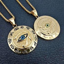 "Eye of Horus Ra Pendant Necklace Udjat Amulet Talisman Pendant Gold for Mens 21"""