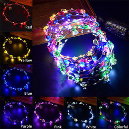 Headband maker online shopping - Colorful LED Flower Headband Shinning Hairband Party Rave Toy luminous flashing Hairpin For Halloween Xmas birthday Cheer Up Head Band favor