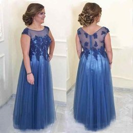 China 2018 New Dark Blue Mother of the Groom Dresses Sheer Scoop Neckline A-Line Mom's Gown for Wedding Guest Bead Lace Mother Bride Dress suppliers
