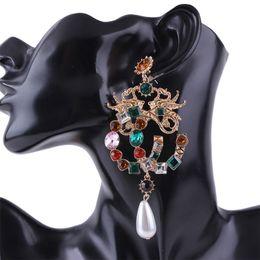 Venta al por mayor de Pendientes colgantes de mujer - Joyas de aleación de piedras preciosas artificiales de colores Pendientes de mujer - Pendientes llamativos con gemas