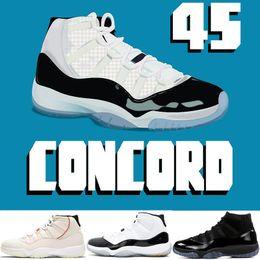 new concept 7a0df 25298 2019 New Mens Basketball-Schuhe Concord 11 11s Platinfarbton Prom Night Cap und  Kleid Legende blau Barons Bred Infrarot Trainer Sport Turnschuhe