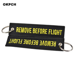 car remove UK - Jewelry Keyrings Remove Before Flight Key Chain Black Embroidery Key Fobs Jewelry Key Holder