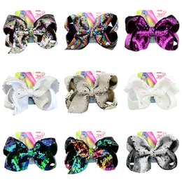 Discount cheerleader hair 135 Styles HOT SALE JoJo Siwa Kids Girls Teens 8inch Gradient color Bow Hair Large Flash Sparkle Hair Bow Dance Hair Bow