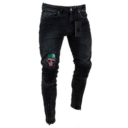 Patterned taPe online shopping - Ruched Mens Jeans Stretchy Ripped Skinny Biker Jeans Cartoon Pattern Destroyed Taped Slim Fit Black Denim Pants Hot Sell