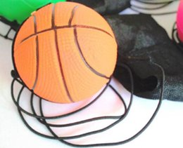 China Wholesale- 2018 Random 5 Style Fun Toys Bouncy Fluorescent Rubber Ball Wrist Band Ball Board Game Funny Elastic Ball Training Antistress suppliers
