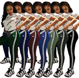 Discount camp pants - Women Champions Tracksuit Pants Tights Leggings trousers + letter print t shirt 2 piece Sportswear Designer Sports GYM J