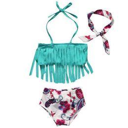 b8bd713b9ba1 3Pcs sets toddler baby girls bikini sets with headband tassel swimwear  swimsuit bathing suit beach wear kids summer clothes