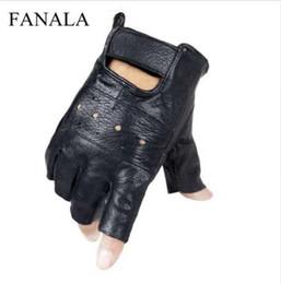 Leather Gloves Long Fingers Australia - Slip-resistant Leather Sheep moto Leather Fingerless Men Gloves Finger Quality Luvas Keeper gants Gloves Half High Genuine Long