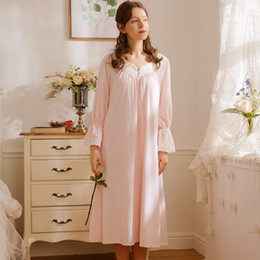 66eb00db69b Free Shipping 2018 New Spring Princess Nightdress Women s Long Pyjamas Pink  Nightgown Soft Cotton Sleepwear Ladies negligee