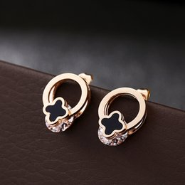 Classic Women Round Four Leaf Clover ShellEarrings Rose Gold Plated Stainless Steel Earrings Best Gifts For Girl Friend Birthday Anniversary