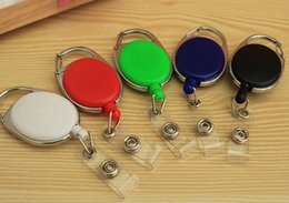 Discount plastic key cards - Popular Retractable Pull Badge Reel Zinc Alloy ABS Plastic ID Lanyard Name Tag Card Badge Holder Reels Recoil Belt Key R