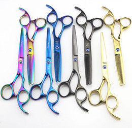 Wholesale JOEWELL 5.5 inch 6.0 inch 4 colros hair scissors cutting   thinning scissors blue balck  rainbow gold