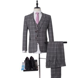 $enCountryForm.capitalKeyWord UK - 12 Style Groom Tuxedos 6 Color Groomsman Suit Custom Made Man Suit 2019 Wedding suit Plaid Suit(Jacket+pants+vest)