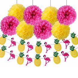 $enCountryForm.capitalKeyWord Australia - wholesale Hawaiian type Paper Flower Balls Flamingo Pineapple Flags Banner for Summer Beach Wedding Birthday Party Decorations