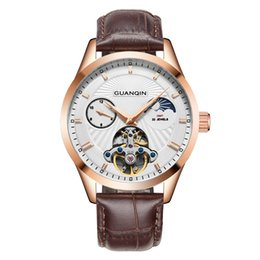 Discount mechanical moonphase - GUANQIN men luxury watches brand Mechanical automatic man watches 30m waterproof 316L stainless steel Moonphase