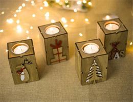 Chinese  Christmas Wood Candle Holder Candlestick Table Lamp For Tea Light Decoration manufacturers