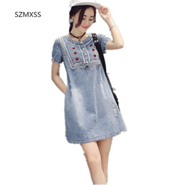 1d030052777 Summer 2018 Denim Dress Women Sundress Retro Vintage Embroidery Soft Mini  Casual Plus Size Jeans Dress Vestidos Femininos Y1890704