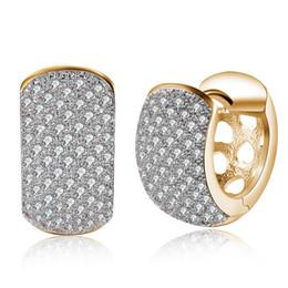 dadb1ad01365 Vermeil 18K Champaign Gold AAA Zircon Diamond Hoop Huggies Pendientes con  joyas de Cz Pendientes aros pequeños 0.9x1.6 cm