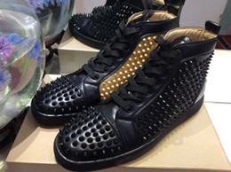 InsIde fashIon desIgn online shopping - MBSn997Zt Size Men Women Black Leather Inside Gold With Spikes High Top Red Bottom Fashion Sneakers Unisex Luxury Design Casual Shoes