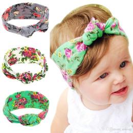 Cotton Knot Headbands Australia - Hot Sale Baby Headbands Accessories Turban Knot Bunny Ear Headbands Floral Print Hairbands Kids Newborn Elastic Cotton Bohemia Bows KHA54