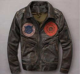 $enCountryForm.capitalKeyWord Australia - AVIREX FIRE MCYCLING men leather jackets vintage lapel neck embroidery motorcycle leather jackets