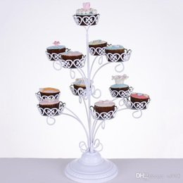 Cupcakes For Birthdays NZ - 11 Holders Cupcake Stands For Birthday Wedding Party Decorations Supplies Metal Cake Display White Lace Dessert Rack 34dw ZZ