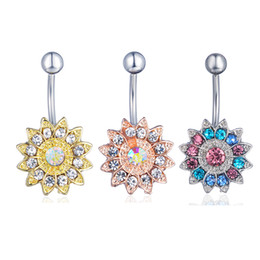 Wholesale D0691 color Clear AB Sunflower style navel button ring piercing body jewlery belly ring Body Jewelry