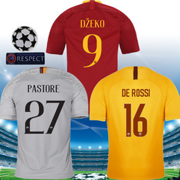 football league NZ - DZEKO PASTORE Soccer Jersey champion league rome 2019 TOTTI 18 19 football shirt DE ROSSI yellow third as maillot de foot roma