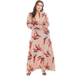 defa201921c2b Plus Size Robe Vestidos 2018 Long UAE Abaya Dubai Kaftan Islamic Chiffon  Women Floral Maxi Muslim Hijab Dress Arabic Clothing