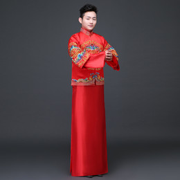 chinese style evening gowns NZ - Groom show clothing embroidery pratensis dragon gown men clothing chinese style wedding gown evening Robe tang suit jacket