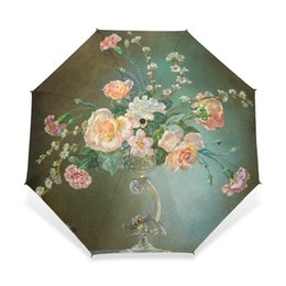 lovers gift flower UK - Classical 19th Century Watercolor Painting Umbrella 3 Folding Flower Painting Pattern Women Umbrella Automatic for Lover Gift