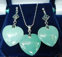 154632112826 Precio al por mayor 16new      Joyería Moda Corazón Forma Pendiente  colgante de piedra verde Conjunto