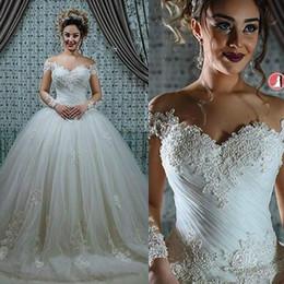 Bride corsets online shopping - Glamorous Lace Off Shoulder Wedding Dresses Illusion Corset Long Sleeve Bride Country Style Vestido de novia Formal Bridal Gown