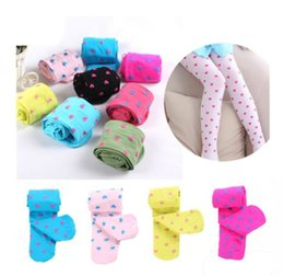Wholesale girls foot tights resale online - Child girls footed heart dots tights stockings ballet candy colors opaque velvet tight stocking T top quality