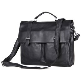 male laptop bags UK - Nesitu High Quality Black Genuine Leather Men Briefcase Portfolios Real Skin Male Messenger Bag 14'' Laptop Shoulder Bags M7100