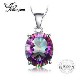 jewelry mystic fire topaz pendant 2019 - JewelryPalace Oval 4.7ct Natural Rainbow Fire Mystic Topaz Pendant For Women Solid 925 Sterling Silver Jewelry Without a
