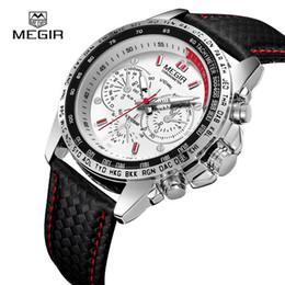 MEGIR Großhandel Sport Marke Quarz Lederband Herrenuhren Top Qualität Luxus Quarz-uhr Uhr Lederband Männliche Armbanduhr 1010 im Angebot