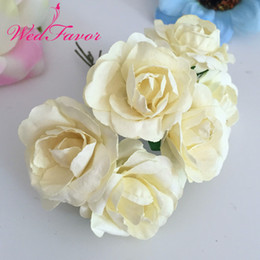 scrapbooking roses NZ - Flower Bouquet 144pcs 3.5cm Imitation Mulberry Paper flowers Artificial Scrapbooking Rose Bouquet Garland Corsage Box Wedding Decoration
