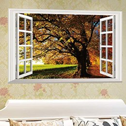 trees 3d wall mural 2021 - Fall Trees View 3D Window Wall Stickers Rurality Removable Creative Decal Art Home Room Mural Decor Fake Windows Big Tree Walls