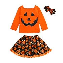 Girls 2t Suit Style Clothing Sets UK - Baby Halloween Girls 3-pcs Suit Pumpkin Clothing Sets Pumpkin Printed Shirt Long Sleeve Skirt Headband 2-6T