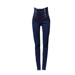 Double Xl Size Jeans NZ - Plus Size 2018 High Waist Lace Up Blue Jeans Women Double Breasted Skinny Denim Pants Fashion Stretchy Pencil Pants