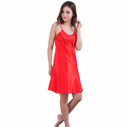 d1164234ad6d Stain Nightgown Women Slik Sleepwear Sexy Night Dress V Neck Strap Solid  Nightwear Sleep Dress Female Home Clothes Nightgowns