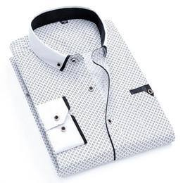 Polka Dotted Shirt For Men NZ - Printed Plaid Polka Dot Men Shirt Long -Sleeved Casual Shirts For Men Slim Fit 21 Colors Male Dress Shirts Camisas Masculina