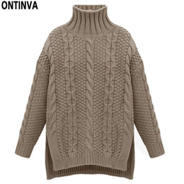 c5403573c Turtleneck Knitted Twist Pattern Sweater Winter Oversized Girls Sweaters  Tops Woman O Neck Long Sleeve Thick Pullovers Jumper
