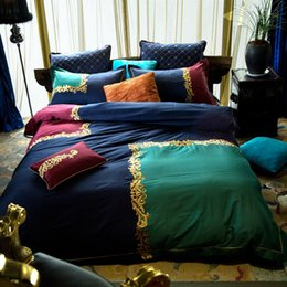 royal blue bedding 2019 - Royal blue and green duvet cover set 100% Egyptian cotton satin bedding set queen king bed linens for adults,luxury bed