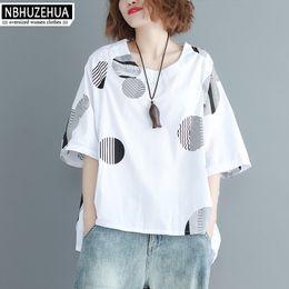 2ae1da4a7cab06 NBHUZEHUA A307 2018 Women Blouse Shirts Summer Plus Size Polka Dot Loose  Tops O Neck Big Size Red White Shirt 4XL 5XL 6XL