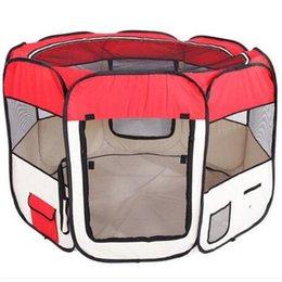 """Опт 2018 Оптовая 57"""" портативный складной 600D Оксфорд ткань сетки Пэт Манеж забор с восемью панелями 59 см 94 см собака путешествия на открытом воздухе"""