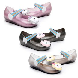 melissa shoes jelly sandals Canada - Glitter Unicorn Princess Shoes Rainbow Magic Sticker Summer Baby Sandals Melissa Jelly Baby kids Crystal Fragrance Sandals Clogs